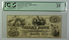 Jan. 31 1855 $5 Valley Bank of Maryland Hagerstown MD PCGS VF-25 Haxby 245-G6