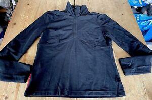 Fabulous PRADA Black Half Zip Neck Long Sleeve Sports Top, Lightweight Fleece, L