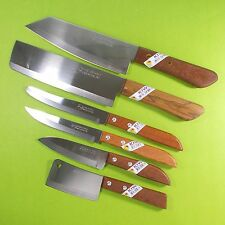 Thai Chef's Knife Cook Knives Set 6 pcs KIWI Wood Handle Kitchen Blade Stainless