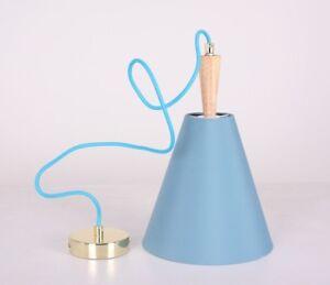 Luce Hanging Blue Ceiling Light with Oak Wood Spindle - Light Modern Desk Led
