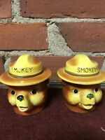 Vtg 1960s Cute Smokey The Bear Figure Heads Advertising Salt And Pepper Shakers
