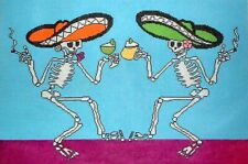 Halloween Dancing Party Skeletons HP Hand Painted Needlepoint Canvas GJ