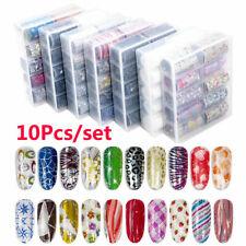 10Pcs/box Holographicss Nail Foils Set  Sky Nail Art Transfer Sticker Salon