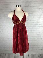 ABS by Allen Schwartz Grecian Goddess Deep Red Crushed Velvet Party dress Sz 2