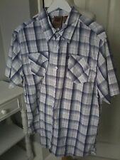 Gato Camiseta Talla 2 XL Casual Manga Corta Cuadros Gris Azul Rojo De Algodón