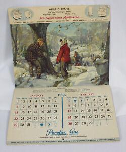 Vtg Pyrofax Gas Calendar 1956 Merle Franz Dealer Napoleon Ohio Wall Art Prints