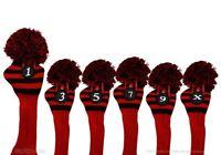 Majek #1 3 5 7 9 X Driver Fairway Wood Red & Black Golf Headcover Knit Pom Pom