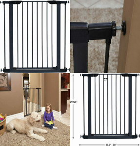 MidWest Homes for Pets Steel Pet Gate | 39 Inch (Pack of 1), Graphite
