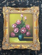 Netherlands Holland Roses Canvas Painting By F. Biliotti Carved Solid Wood Gold