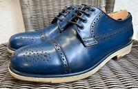 Giorgio Armani Cap Toe Derby Shoe Blue Leather Crepe Sole UK Size 7.5 US 8.5
