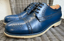 Giorgio Armani Cap Toe Derby Shoe Blue Leather Crepe Sole UK Size 7.5 US 8.5