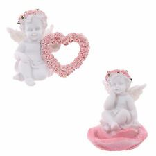 2 x White Cherub Angel Figurines / Pair of Pink Glitter Rose Ornaments Gift Idea