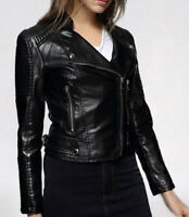 Womens Genuine Lambskin Leather Motorcycle Slim Fit Designer Ladies Biker Jacket