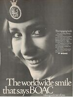 1969 Original Advertising' Vintage Boac British Overseas Airways Face Hostess