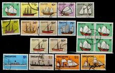 Singapore stamps 1980 SHIP complete low & high value used set + 50c shades