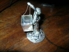 antique silver figural toothpick holder CHINESE MAN CARRYING PICKS ~napkin ring