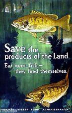 Eat More FISH Digitally Remastered World War I Era Food Print Kitchen Home Art