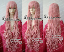 VOCALOID LUKA Long Dark Pink Curly Hairs Wig 100CM Long Cosplay Wigs