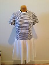 Vintage 1960s Blue & White Dropped Waist Scooter Dress