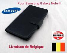 Pochette Coques flip cuir Noir Pour Samsung Galaxy N7100 Note2 TOP QUALITÉ