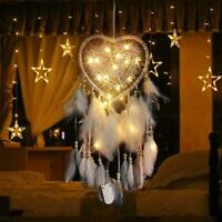 LED Light Up Dream Catcher Bedroom Background Dreamcatcher Feather Decor F3U6