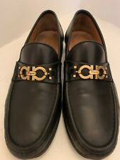 Salvatore Ferragamo Gancini Black Leather Moccasin Loafers - Size 8.5 EE