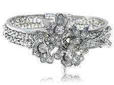 Vintage-like Crystal Rhinestone Floral Flower Leaf Bouquet Bracelet Bangle Cuff