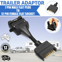 Trailer Adapt 7 Pin Male Plug To 12 Pin Female Socket Flat Caravan Car Converter
