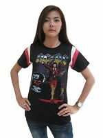 AC/DC Rock Band Concert World Tour Hockey T-Shirt Womens Jersey Black 100%Cotton