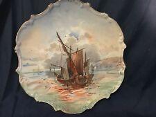 Junk Ship Sea landscape Factory decorated  Limoges France Artist signed Plate