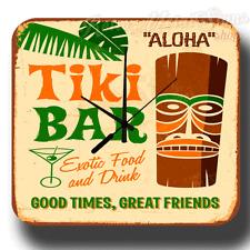 Aloha TIKI barre vintage rétro boite métal signe style Horloge murale