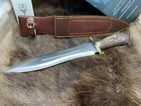 Muela Large Podenquero Knife Stag Handles With Dagger Blade & Leather Sheath GJ