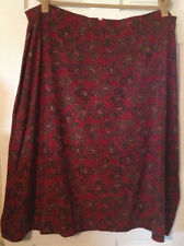 Womens Size 3X Sag Harbor Red & Brown Floral Long A-Line Skirt w/Side Elastic!