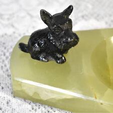 Vintage Scottish Terrier Green Onyx Scottie Dog Trinket Dresser Tray