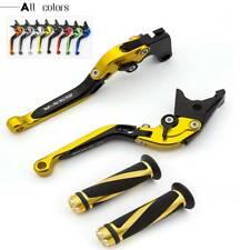 Logo Fold Extend Brake Clutch Levers&Grips For Suzuki GSXR750 GSXR600 1996-2003
