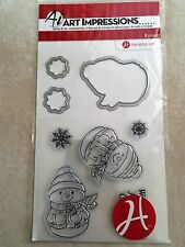 Hampton Art Clear Clear Stamp and Die Set Snowman Christmas SC0738 NEW