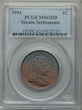 1904 Straits Settlements 1 Cent PCGS MS 62 RB Red Brown