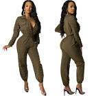 US women fashion open front long sleeves beaded club party long jumpsuit casual