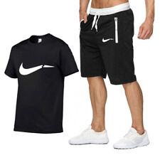 S-2XL Herren Sport T-Shirt+Shorts Jogginganzug Traininganzug Shortanzug Kurzarm+