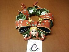 "Christmas ""Wanda the Wreath� 3 t-lite holder by Vanmark in 2003"