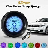 Universal 2'' 52mm Car Water Temp Gauge Digital 7-Color LED Light Dual Display