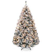 BCP Pre-Lit Snow Flocked Artificial Pine Christmas Tree w/ Warm White Lights