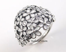 DARLING DAISY BOUQUET 100% PANDORA Silver/WHITE ENAMEL/Cz FLORAL Ring 5/50 NEW