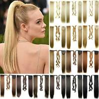Lady Straight Hair Ponytail as Human Clip In Hair Extension Wrap Around Ponytail