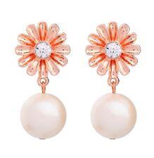 Orecchini a bottone margherita in oro rosato super dolce con perla pendente