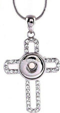 Silver Rhinestone Cross 12mm Mini Petite Snap Pendant Necklace For Ginger Snaps