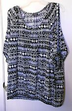 Concepts  Black and White print short sleeve pullover top size XL