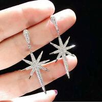 Eight-pointed Star 925 Silver Dangle Earrings Women Gift White Sapphire Earrings