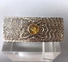 ❂ ►Klassische Art Deco Brosche, Silber 800, Markasiten, gelber Stein, sehr schön