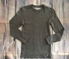 QUIKSILVER BOYS SIZE L 16/18 BROWN KNIT RIBBED SWEATER Brown EUC